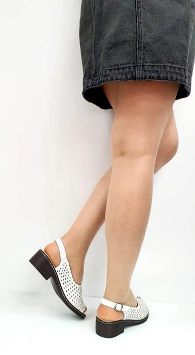 Sandale Dama Piele Naturala Albe Rachel D02743 [2]