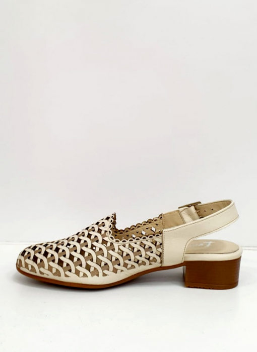 Sandale Dama Piele Naturala Prego Crem Rhoda D02745 [4]