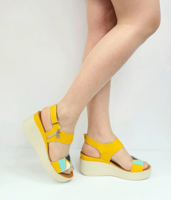 Sandale Dama Piele Naturala Galben Prego Barbara D02747 [0]