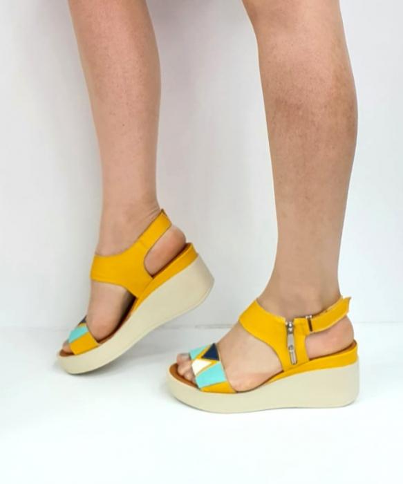 Sandale Dama Piele Naturala Galben Prego Barbara D02747 [1]