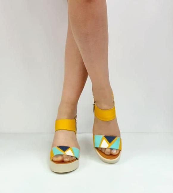 Sandale Dama Piele Naturala Galben Prego Barbara D02747 [2]