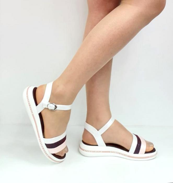 Sandale Dama Piele Naturala Alb Moda Prosper Benjamine D02748 [0]