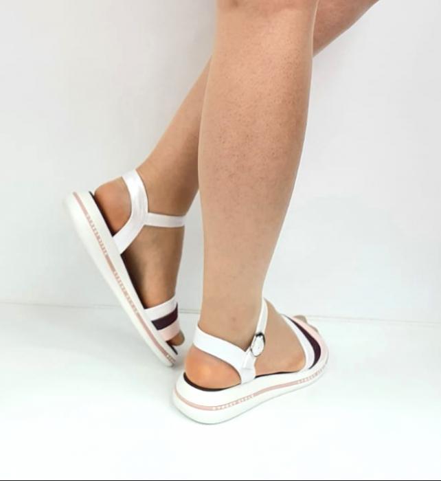 Sandale Dama Piele Naturala Alb Moda Prosper Benjamine D02748 [3]