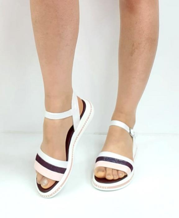 Sandale Dama Piele Naturala Alb Moda Prosper Benjamine D02748 [1]