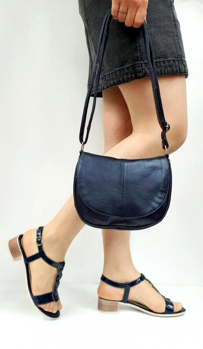 Sandale Dama Piele Naturala Bleumarin Prego Isabella D02751 [0]