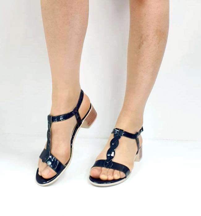 Sandale Dama Piele Naturala Bleumarin Prego Isabella D02751 [4]