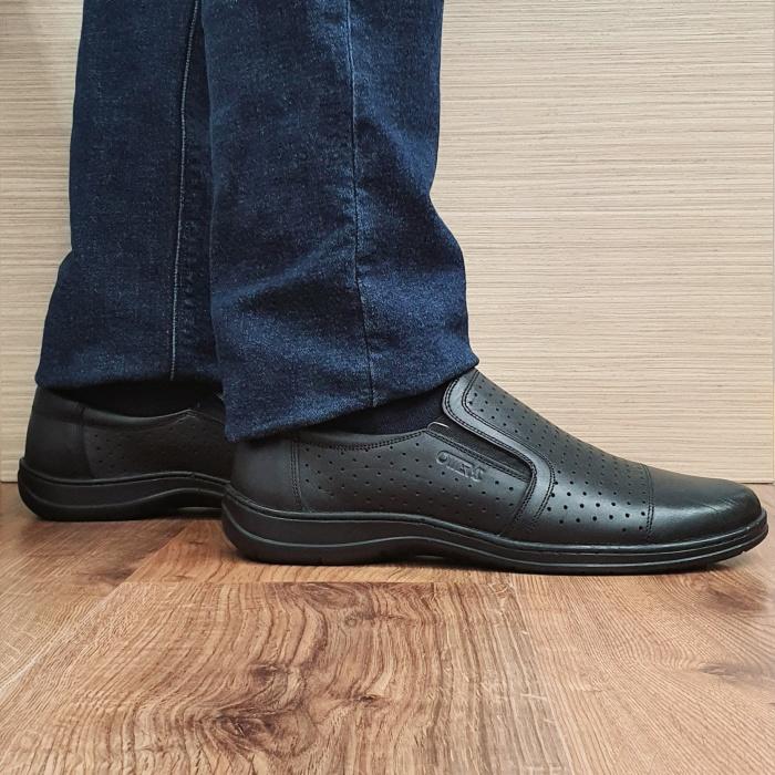 Pantofi Barbati Casual Piele Naturala Negri Otter Ilias B00069 0