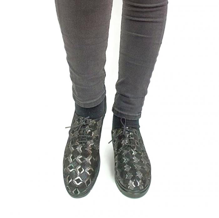 Pantofi Casual Piele Naturala Negri Dinah D02727 [4]