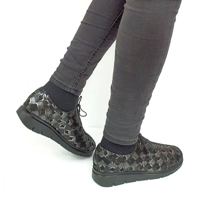 Pantofi Casual Piele Naturala Negri Dinah D02727 [3]