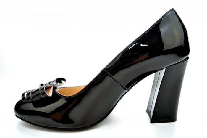 Pantofi cu toc Piele Naturala Negri Guban Amanda D01118 1