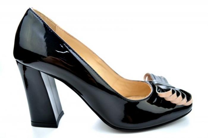 Pantofi cu toc Piele Naturala Negri Guban Amanda D01118 0