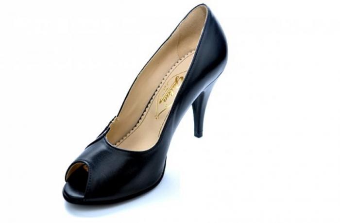 Pantofi cu toc Piele Naturala Negri Guban Brunella D01147 [3]