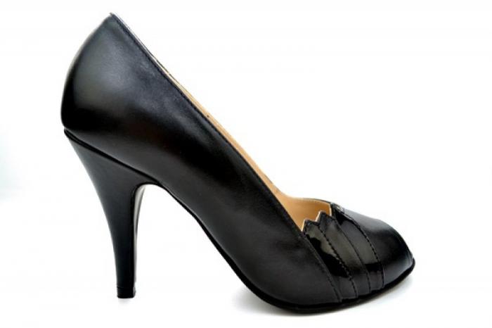 Pantofi cu toc Piele Naturala Negri Guban Brunella D01147 [0]