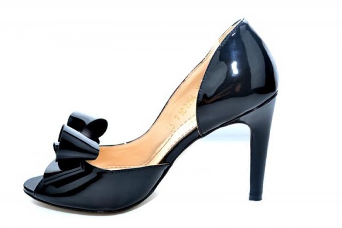 Pantofi cu toc Piele Naturala Negri Guban Ivanna D01081 [1]