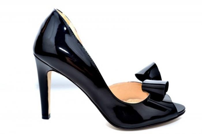 Pantofi cu toc Piele Naturala Negri Guban Ivanna D01081 [0]