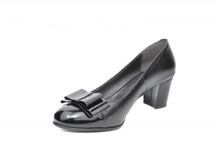 Pantofi cu toc Piele Naturala Negri Moda Prosper Abel D01912 2