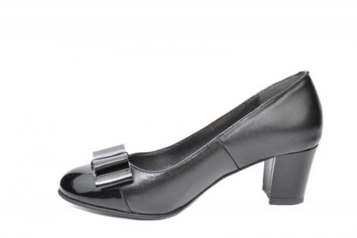 Pantofi cu toc Piele Naturala Negri Moda Prosper Abel D01912 1