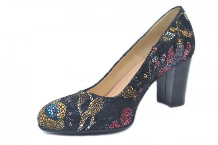 Pantofi cu toc Piele Naturala Bleumarin Corvaris Ada D01628 2