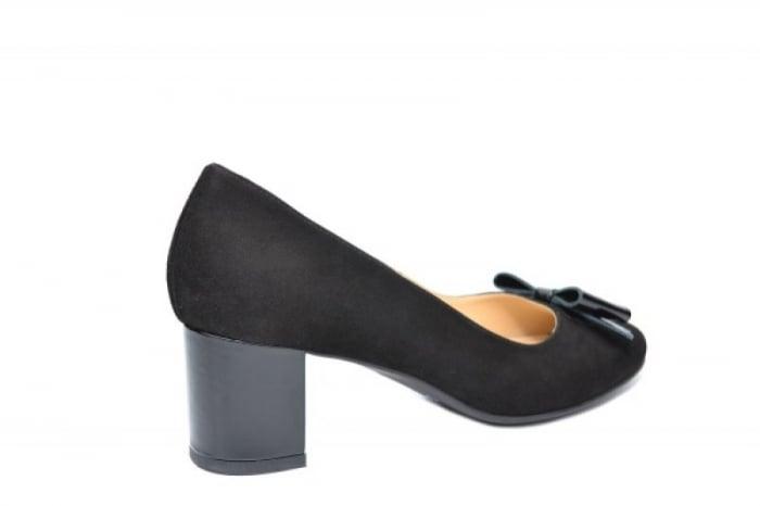 Pantofi cu toc Piele Naturala Negri Adela D01913 3
