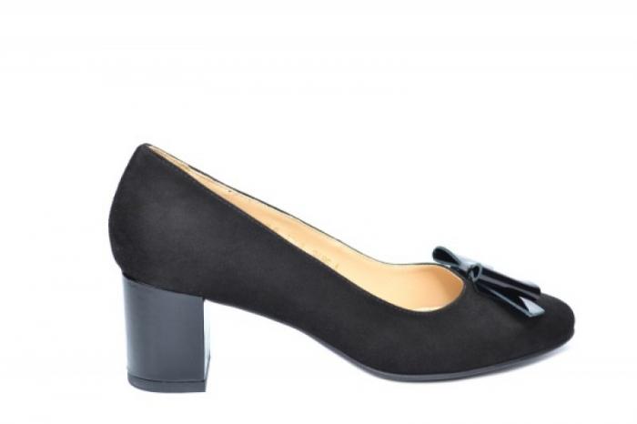 Pantofi cu toc Piele Naturala Negri Adela D01913 [0]