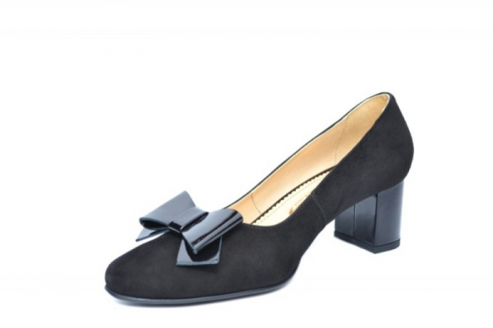 Pantofi cu toc Piele Naturala Negri Adela D01913 2