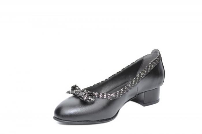 Pantofi cu toc Piele Naturala Negri Moda Prosper Adina D01909 2