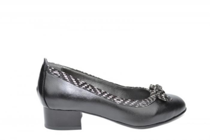 Pantofi cu toc Piele Naturala Negri Moda Prosper Adina D01909 0