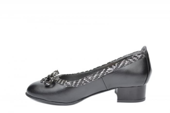 Pantofi cu toc Piele Naturala Negri Moda Prosper Adina D01909 1
