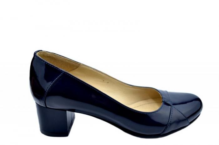 Pantofi cu toc Piele Naturala Bleumarin Agata D01557 [0]