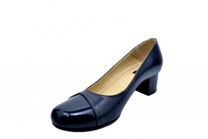 Pantofi cu toc Piele Naturala Bleumarin Agata D01557 2