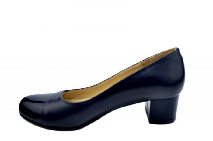 Pantofi cu toc Piele Naturala Bleumarin Agata D01557 1