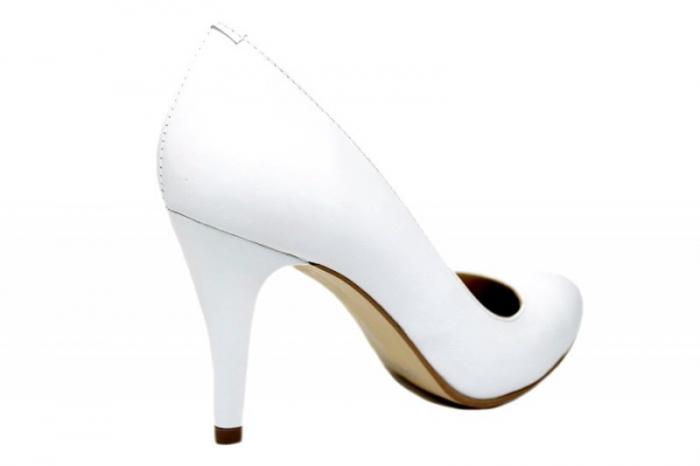 Pantofi cu toc Piele Naturala Albi Alla D01779 [3]
