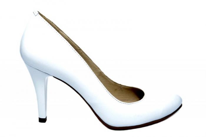 Pantofi cu toc Piele Naturala Albi Alla D01779 [0]