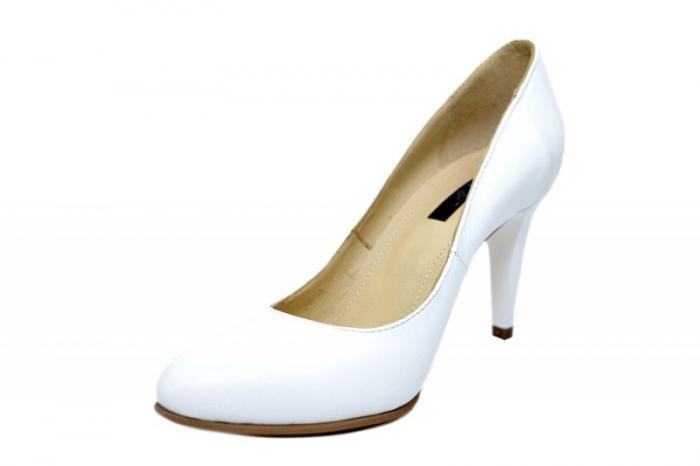 Pantofi cu toc Piele Naturala Albi Alla D01779 [2]