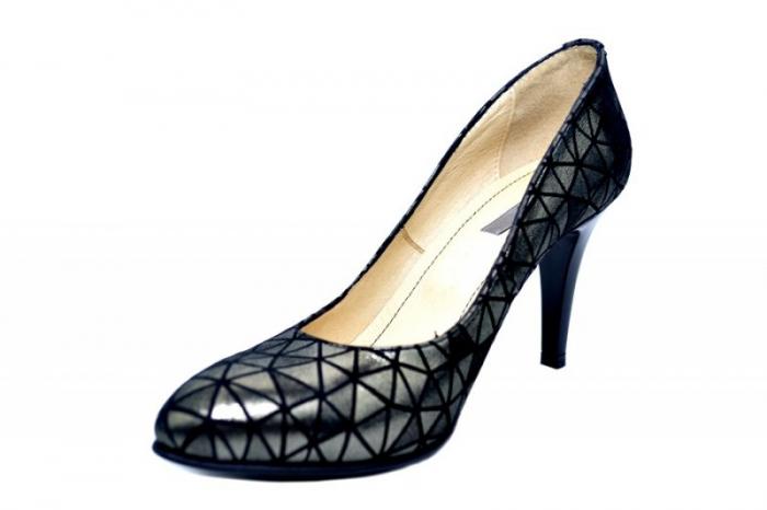 Pantofi cu toc Piele Naturala Negri Alla D01780 2