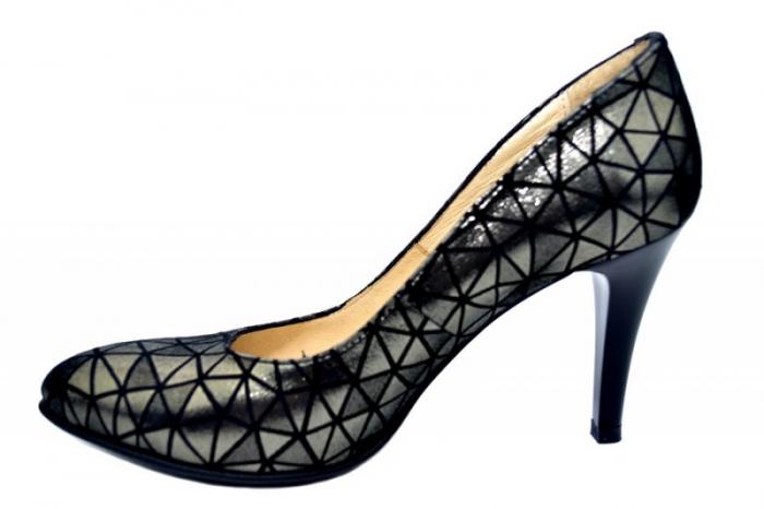 Pantofi cu toc Piele Naturala Negri Alla D01780 1
