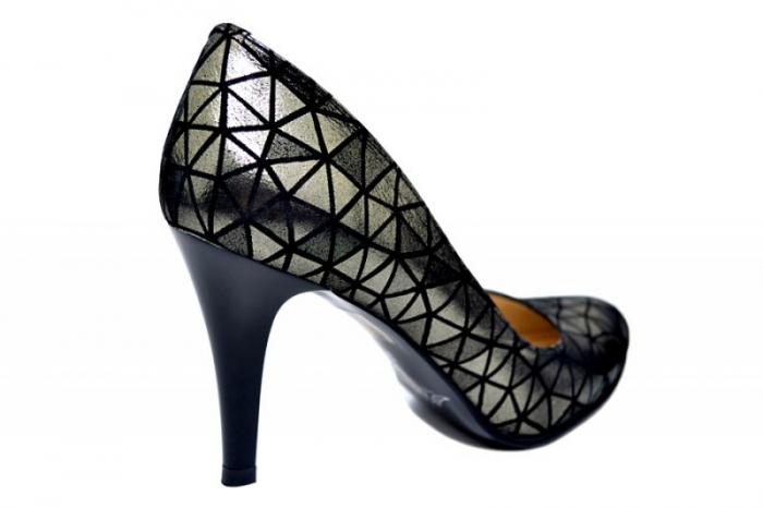 Pantofi cu toc Piele Naturala Negri Alla D01780 3