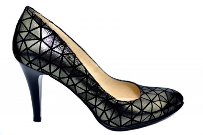 Pantofi cu toc Piele Naturala Negri Alla D01780 0
