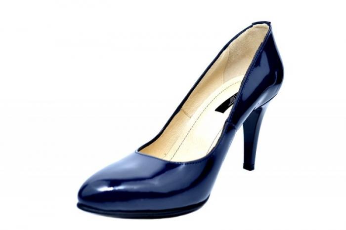 Pantofi cu toc Piele Naturala Bleumarin Alla D01781 2