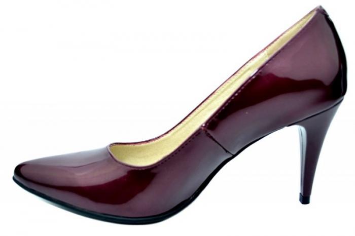 Pantofi cu toc Piele Naturala Mov Alyona D01784 1