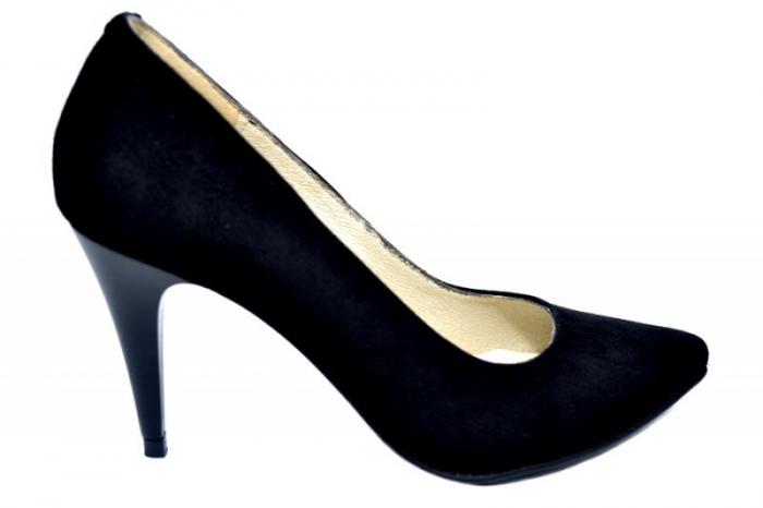 Pantofi cu toc Piele Naturala Negri Alyona D01785 0