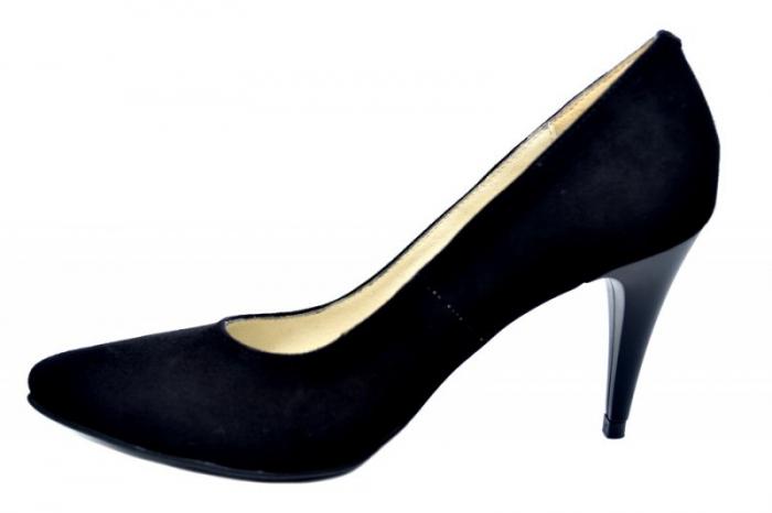 Pantofi cu toc Piele Naturala Negri Alyona D01785 1