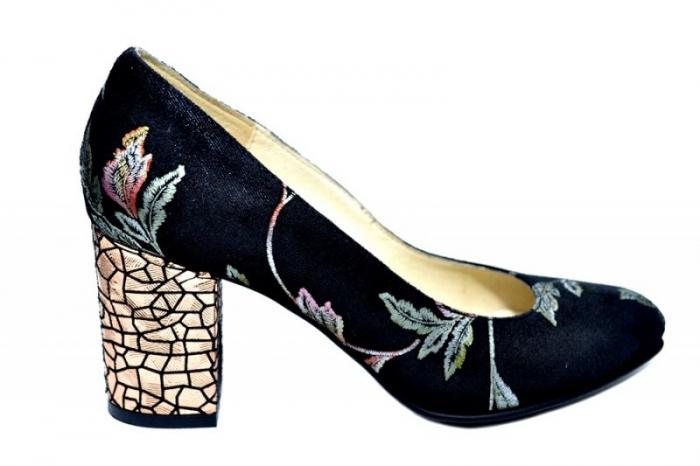 Pantofi cu toc Piele Naturala Negri Andressa D01818 0