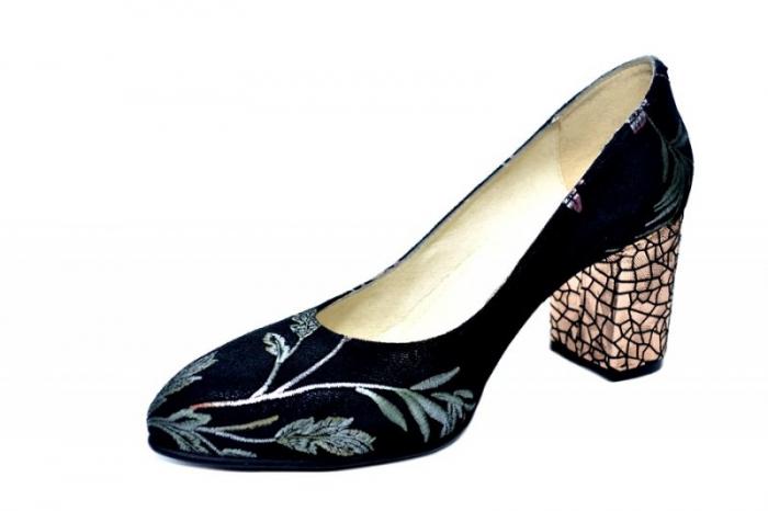 Pantofi cu toc Piele Naturala Negri Andressa D01818 2
