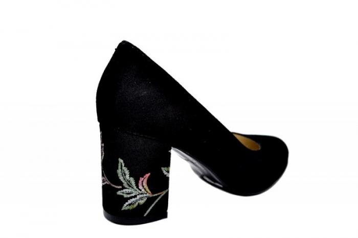 Pantofi cu toc Piele Naturala Negri Andressa D01819 [3]