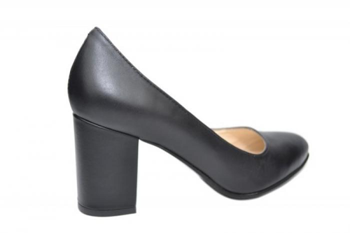 Pantofi cu toc Piele Naturala Negri Andressa D01917 3