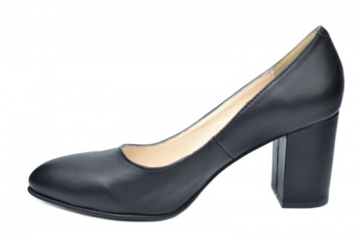 Pantofi cu toc Piele Naturala Negri Andressa D01917 1