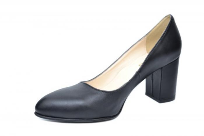 Pantofi cu toc Piele Naturala Negri Andressa D01917 2