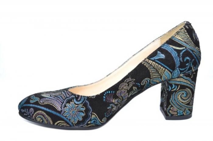 Pantofi cu toc Piele Naturala Negri Aquila D01921 [1]