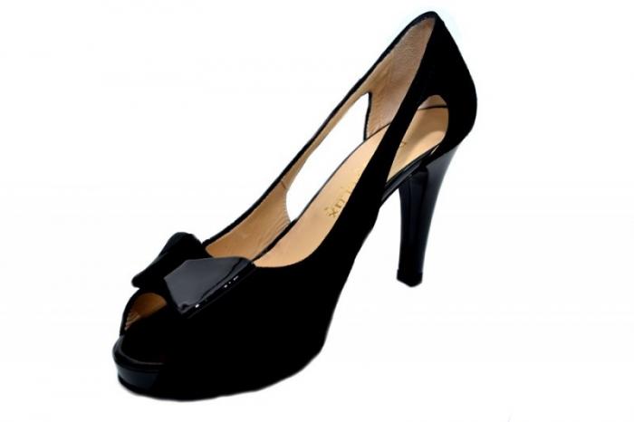 Pantofi Dama Piele Naturala Negri Belle D01324 [2]
